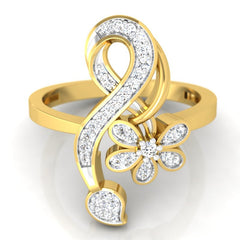 diamond studded gold jewellery - Neves Casual Ring - Pristine Fire - 2