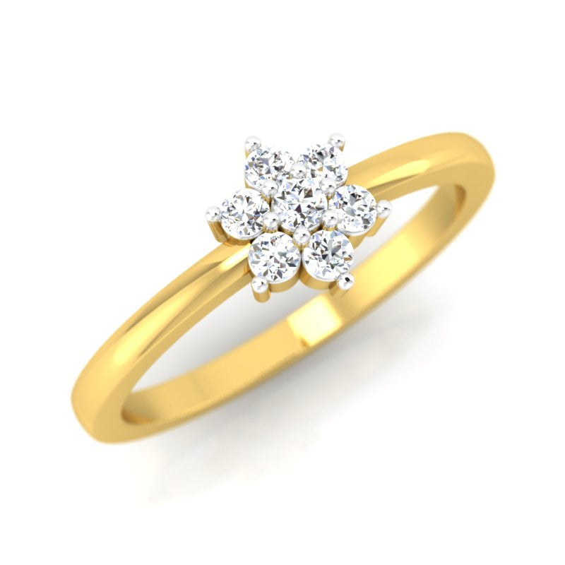 diamond studded gold jewellery - Isidora Cluster Ring - Pristine Fire - 1