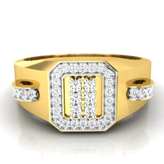 diamond studded gold jewellery - Brad Men's Ring - Pristine Fire - 2