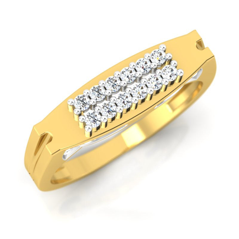 diamond studded gold jewellery - George Men's Ring - Pristine Fire - 1