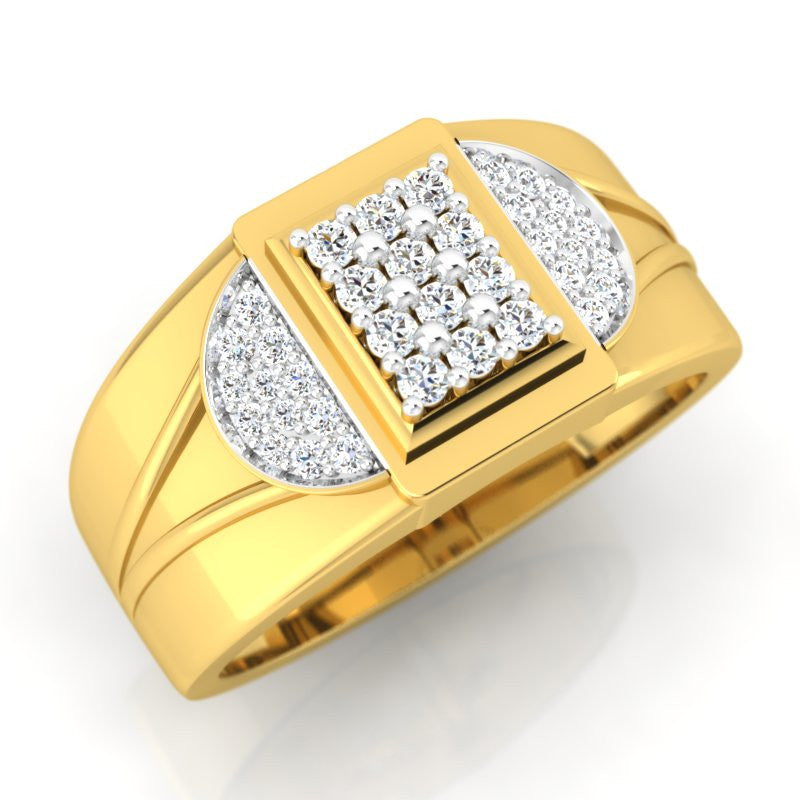 diamond studded gold jewellery - David Men's Ring - Pristine Fire - 1