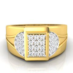 diamond studded gold jewellery - David Men's Ring - Pristine Fire - 2