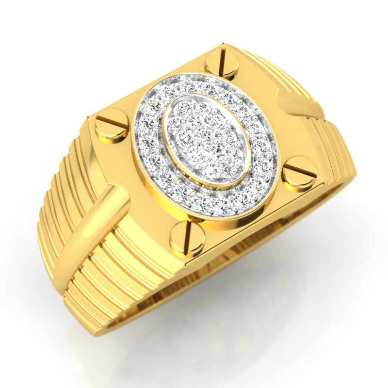 diamond studded gold jewellery - Ralf Men's Ring - Pristine Fire - 1