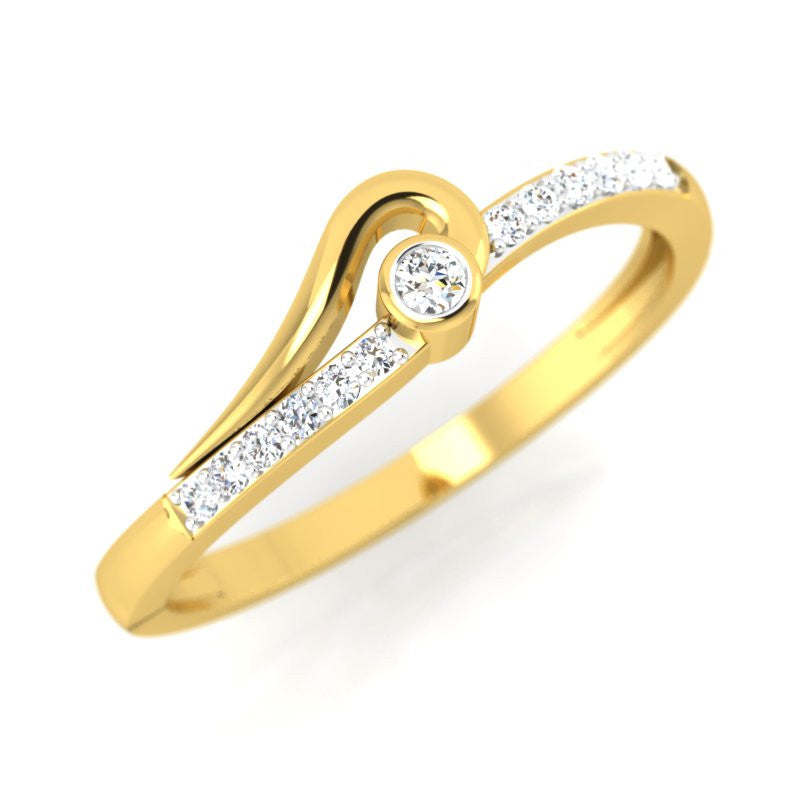 diamond studded gold jewellery - Nacha Promise Ring - Pristine Fire - 1