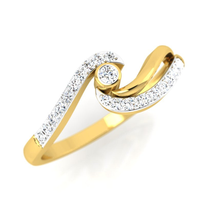 diamond studded gold jewellery - Parmenia Promise Ring - Pristine Fire - 1