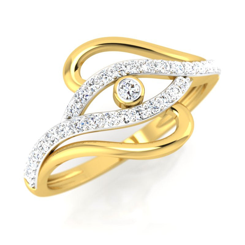 diamond studded gold jewellery - Kareela Fashion Ring - Pristine Fire - 1