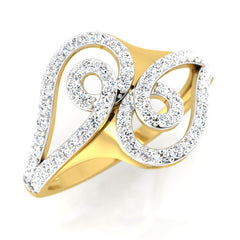 diamond studded gold jewellery - Bayli Fashion Ring - Pristine Fire - 1