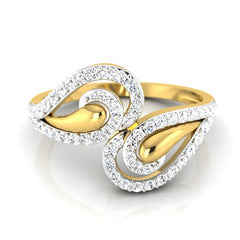 diamond studded gold jewellery - Carelyn Fashion Ring - Pristine Fire - 2