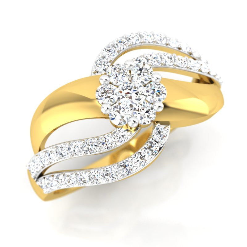 diamond studded gold jewellery - Nitza Cluster Ring - Pristine Fire - 1