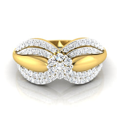 diamond studded gold jewellery - Amorina Cluster Ring - Pristine Fire - 2