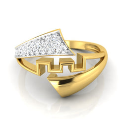 diamond studded gold jewellery - Electa Fashion Ring - Pristine Fire - 2