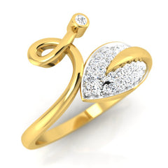diamond studded gold jewellery - Harli Fashion Ring - Pristine Fire - 1