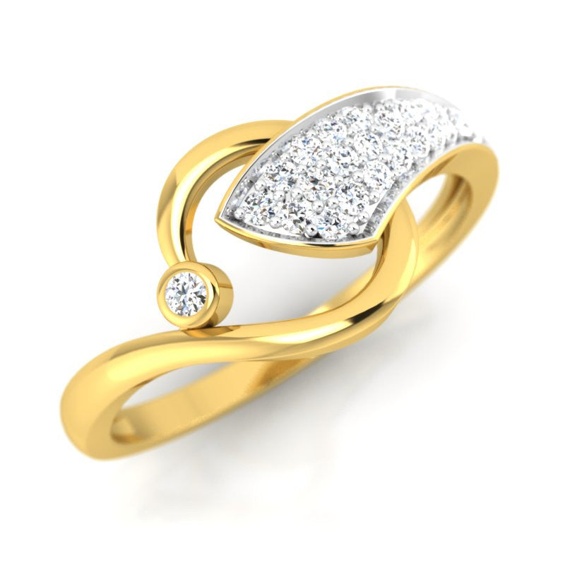 diamond studded gold jewellery - Nishi Fashion Ring - Pristine Fire - 1