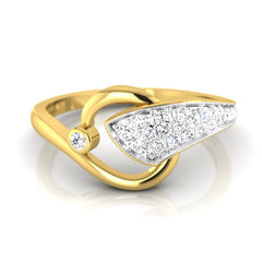 diamond studded gold jewellery - Nishi Fashion Ring - Pristine Fire - 2