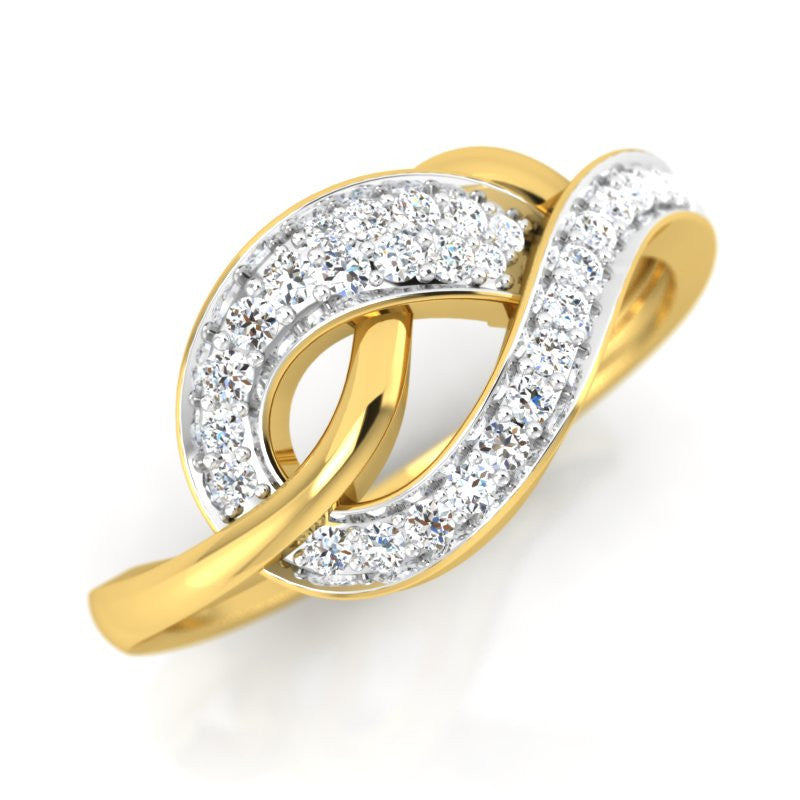 diamond studded gold jewellery - Cadyna Fashion Ring - Pristine Fire - 1
