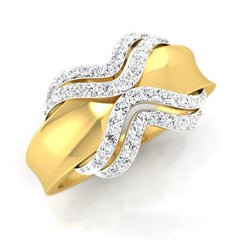 diamond studded gold jewellery - Janna Bands Ring - Pristine Fire - 1