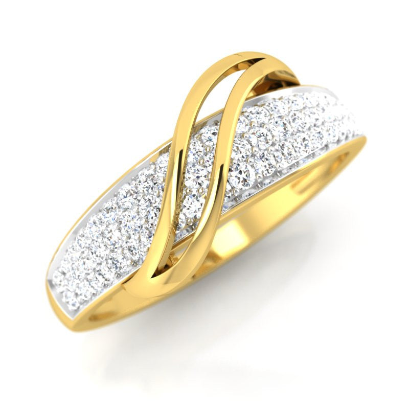 diamond studded gold jewellery - Sylviann Bands Ring - Pristine Fire - 1
