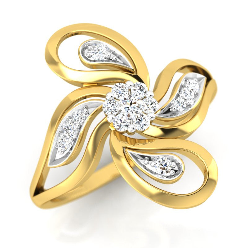 diamond studded gold jewellery - Taniesha Cocktail Ring - Pristine Fire - 1