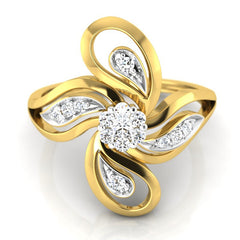 diamond studded gold jewellery - Taniesha Cocktail Ring - Pristine Fire - 2