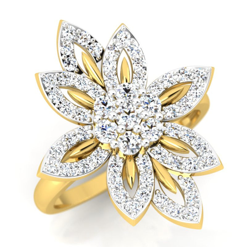 diamond studded gold jewellery - Pooja Cocktail Ring - Pristine Fire - 1