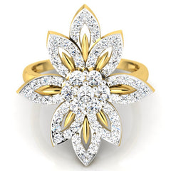 diamond studded gold jewellery - Pooja Cocktail Ring - Pristine Fire - 2