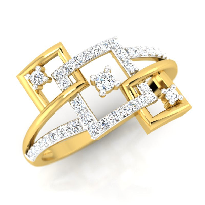 diamond studded gold jewellery - Aileen Fashion Ring - Pristine Fire - 1