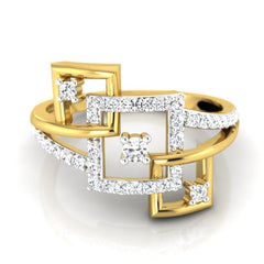 diamond studded gold jewellery - Aileen Fashion Ring - Pristine Fire - 2
