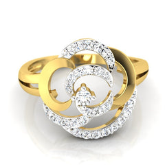 diamond studded gold jewellery - Arriana Cocktail Ring - Pristine Fire - 2