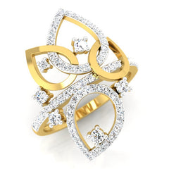 diamond studded gold jewellery - Marci Cocktail Ring - Pristine Fire - 1