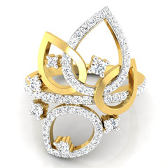 diamond studded gold jewellery - Marci Cocktail Ring - Pristine Fire - 2