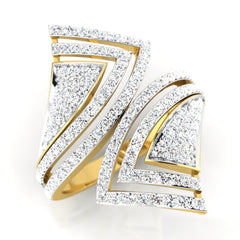 diamond studded gold jewellery - Severina Cocktail Ring - Pristine Fire - 1