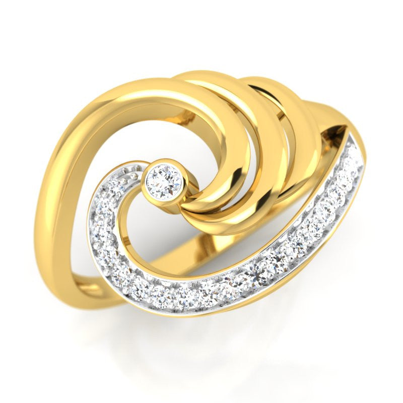 diamond studded gold jewellery - Lelia Cocktail Ring - Pristine Fire - 1
