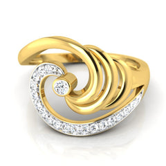 diamond studded gold jewellery - Lelia Cocktail Ring - Pristine Fire - 2