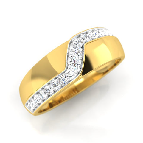 diamond studded gold jewellery - Alannah Band Ring - Pristine Fire - 1