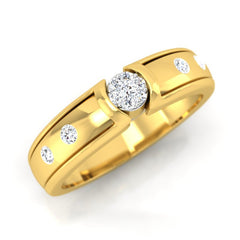 diamond studded gold jewellery - Alexcia Band Ring - Pristine Fire - 1