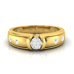 diamond studded gold jewellery - Alexcia Band Ring - Pristine Fire - 2