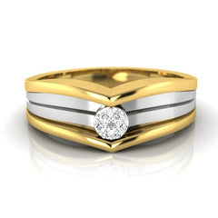 diamond studded gold jewellery - Alfred Men's Ring - Pristine Fire - 2