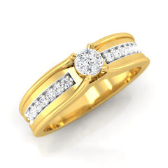 diamond studded gold jewellery - Andreia Band Ring - Pristine Fire - 1
