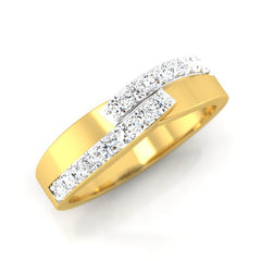 diamond studded gold jewellery - Aneesha Band Ring - Pristine Fire - 1