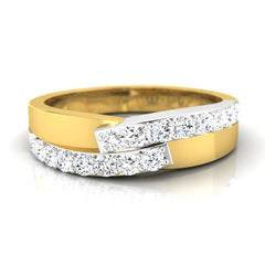 diamond studded gold jewellery - Aneesha Band Ring - Pristine Fire - 2