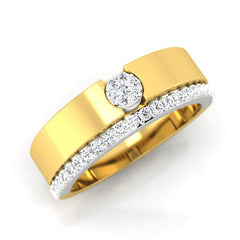 diamond studded gold jewellery - Ashleen Band Ring - Pristine Fire - 1