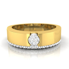 diamond studded gold jewellery - Ashleen Band Ring - Pristine Fire - 2