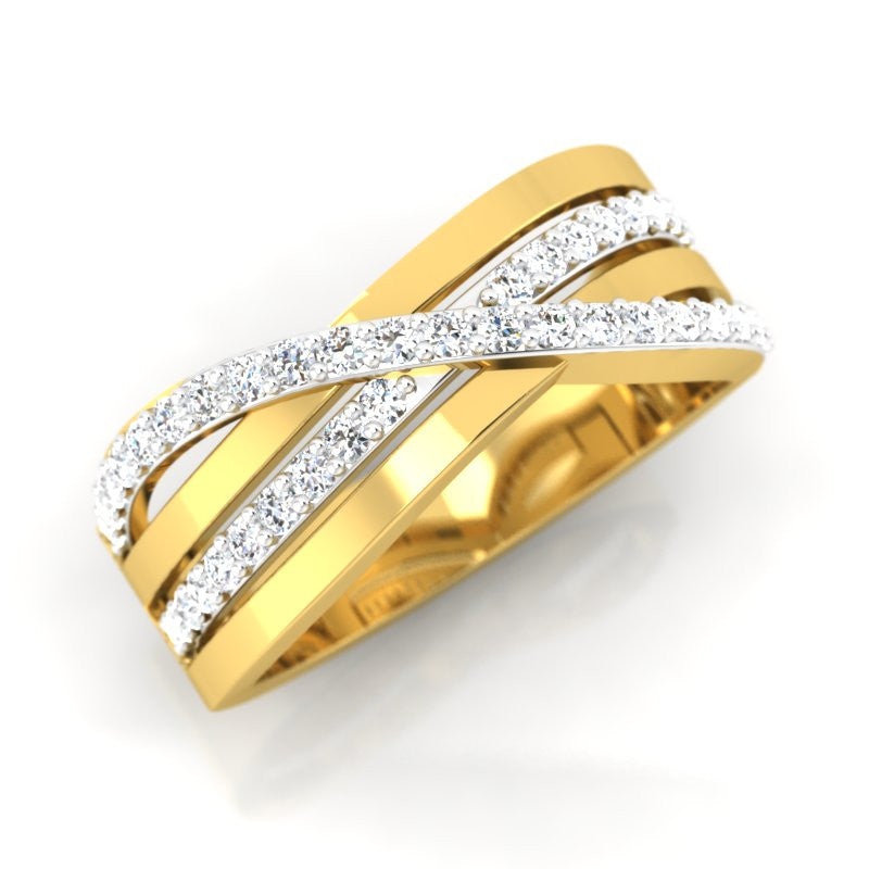 diamond studded gold jewellery - Augusta Band Ring - Pristine Fire - 1