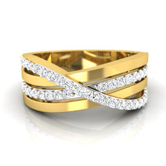 diamond studded gold jewellery - Augusta Band Ring - Pristine Fire - 2