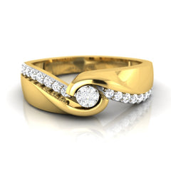 diamond studded gold jewellery - Basilia Band Ring - Pristine Fire - 2