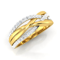 diamond studded gold jewellery - Brandis Band Ring - Pristine Fire - 1