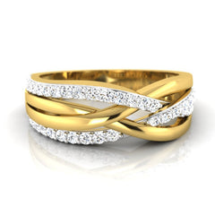 diamond studded gold jewellery - Brandis Band Ring - Pristine Fire - 2