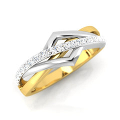 diamond studded gold jewellery - Brunela Band Ring - Pristine Fire - 1