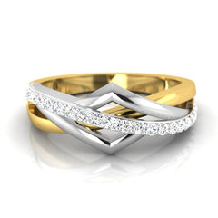 diamond studded gold jewellery - Brunela Band Ring - Pristine Fire - 2