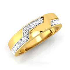 diamond studded gold jewellery - Calvina Band Ring - Pristine Fire - 1